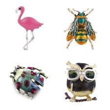 Animal Owl Bee Flamingo Ladybug Crystal Enamel Brooch Pin Personality Jewelry