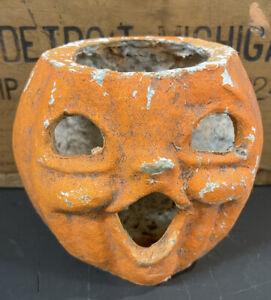 Great Original Vtg 40s 50s Paper Mache Jack O Lantern Halloween Pumpkin