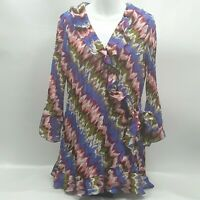 Sunny Leigh Womens Long Sleeve Blouse size Large Wrap Style Tunic Blouse