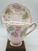 Vintage Tuscan English Bone China Pink and Floral Teacup & Saucer Set EUC