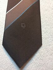 CHRISTIAN DIOR MENS TIE 2.75 X 56 TWO TONE BROWN WITH BLUE AND WHITE STRIPES