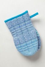 """Anthropologie PLEATED JACQUARD Oven Mitt Aqua Navy Stripe Quilted Cotton 8"""""""
