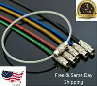 5PCS Stainless Steel Wire Keychain Cable Key Ring Chain Outdoor Hiking Style Hot