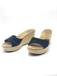 UGG Australia Alvina Womens Black Suede Wedges Sandals Heels Shoes Sz 9 40 3100