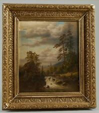 Forest View w Rapids figure at bridge distant Windmill 19C antique Painting