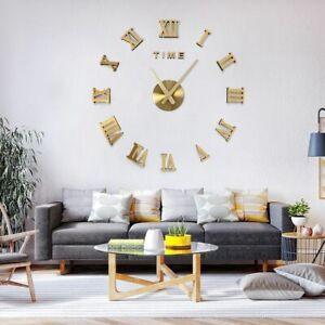 76.2cm sans Cadre DIY Horloge Murale 3D Miroir L Mute Quartz Stickers Décoration