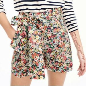 New J.Crew Liberty Thorpe Floral Bow Tie Shorts Size 00 Women's