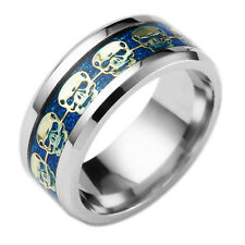 New Fashion Woman Man Blue 316L Stainless Steel Skull Ring Couple Size:6-13