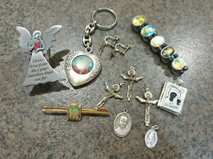 Christian Bulk 3x Crosses 1x Bracelett 1x Key Ring 1x Tie Pin 1x Locket etc