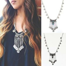 Lady Layers Gorgeous Boho Gypsy Ethnic Turquoise Silver Coins Pendants Necklace