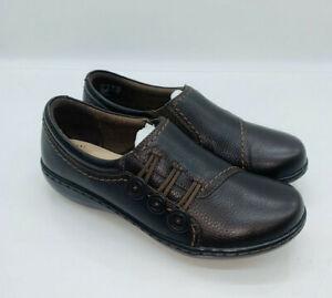 Clarks WMN Ashland Effie Slip On Loafer Dark Brown Tumbled Leather US 5M #Box26