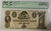 1852 Merchants' Bank $1 Obsolete Currency Haxby 275-G2 Washington DC PCGS 64 PPQ