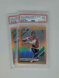 2 Card Lot - GARDNER MINSHEW 2019 OPTIC RATED ROOKIE ORANGE PRIZM /199 PSA 9