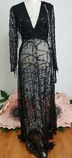 New Womens Pretty Little Thing Black Sequin Long Sleeve Maxi Dress Uk 10