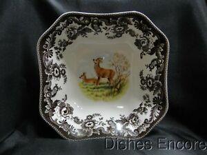 """Spode Woodland Deer: Square Serving / Salad Bowl (s), 9 1/2"""", Box"""