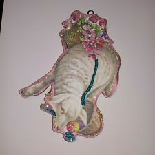 Easter Lamb with Basket of Eggs Wood Ornament~ Vtg Image ~ Glitter