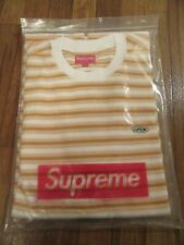 Supreme Multi Stripe Terry Tee T-Shirt Size Large White SS18 SS18KN25 Brand New