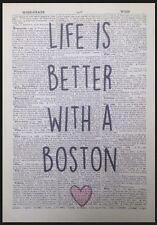 Boston Terrier presupuesto impresión arte de la pared de la página de Diccionario Vintage Lindo Perro de imagen