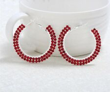 Luxurious micro paved red cubic zirconia crystal round hoop earrings