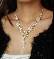 Elegant Lady Jewelry Pendant Pearl Crystal Statement Choker Chunky Bib Necklace.