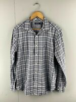 Nautica Mens Vintage Long Sleeve Button Up Shirt Size Large Blue Check