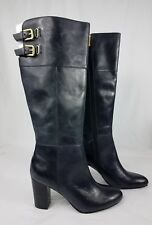 Isola Black Leather  High Heel  Knee High Boots Size 9 M Brass Buckles