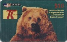 TK Telefonkarte/Phonecard USA Amerivox $10. Telecard '94 Berlin, Germany Grizzly