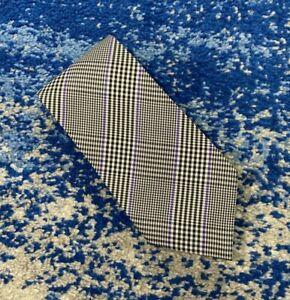 Ralph Lauren Purple Label Black Silver Bias Houndstooth Plaid Silk Necktie
