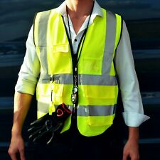 """High Visibility Safety Reflective Vest - Class 2 - (Yellow, 2"""" tape) w/ pockets"""