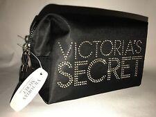 Victoria's Secret Black Gold Writing Small/ Medium Makeup Bag Cosmetics Pouch
