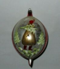 """Vintage Blown Glass Large 6"""" Teardrop Christmas Ornament Poland Hand Painted"""