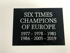 Liverpool FC Champions of Europe - Huge Engraved Plaque Ideal for Memorabilia