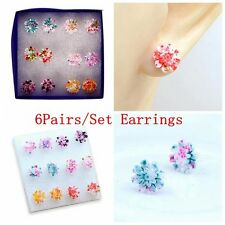 6pairs/set Jewelry Colorful Ear Stud Daisy Earring Set Resin Flower