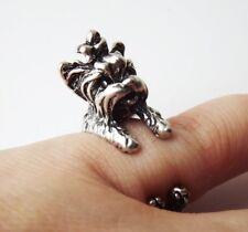 Cute Vintage Silver Adjustable Detailed Yorkshire Terrier Yorki Dog Animal Ring