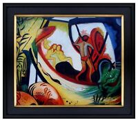 Framed August Macke 3 Girls in a Barque Repro, Hand Painted Oil Painting 20x24in