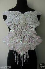 BD57 Floral Fringed Bodice Sequin Beaded Applique White Iris Dancewear/Samba
