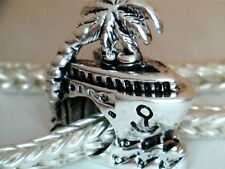 SILVER PLATED CRUISE SHIP SPACER BEAD CHARM ** SEE MY STORE ** VACATION TRAVEL