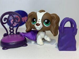 Authentic Littlest Pet Shop - Hasbro LPS - COCKER SPANIEL DOG #156 W/ Accessory