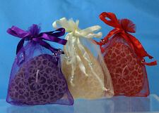 Love Heart CANDLES - set of 3 fragranced wax with hibiscus flower details