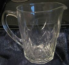 Lovely Glass jug with vintage style pattern approx 6.25ins tall