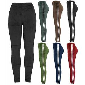 Ladies Women Velour Lounge Pants Velvet Tracksuit Bottoms Side Stripe Leggings