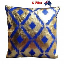 Modern Cushion Pillow Sofa Blue and Gold Diamonds Cushion 45cm (with Insert)