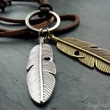 Feather Necklace Angel Wing Pendant Leather Adjustable Boho Leaf