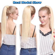 Thick 100% Real Clip In Wrap Around Human Hair Extensions Ponytail Hairpiece