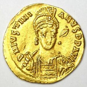 Byzantine Justinian I AV Solidus Gold Cross Coin 527-565 AD - Good VF / XF