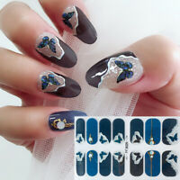 14 Tips/sheet 3D Holographic Butterfly Stickers Nail Wraps Full Cover Decals DIY