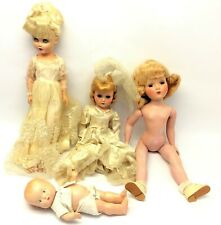 Mixed Vintage Lot Used Various Plastic Blinking Blonde Wedding Dress Doll Lot