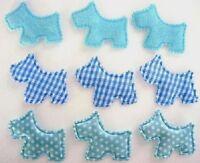 60 Baby Scottie Dog Puppy Fabric Applique/Satin Dot/Felt/Gingham/Puppy H319-Blue