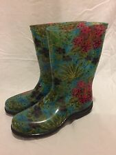NEW SLOGGERS Midsummer Rubber Rain Boots Galoshes Wellingtons FlowerS US SZ W 8