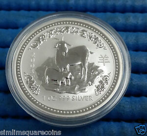 2003 Australia $1 Lunar Year of the Goat Series 1 Silver Coin with capsule